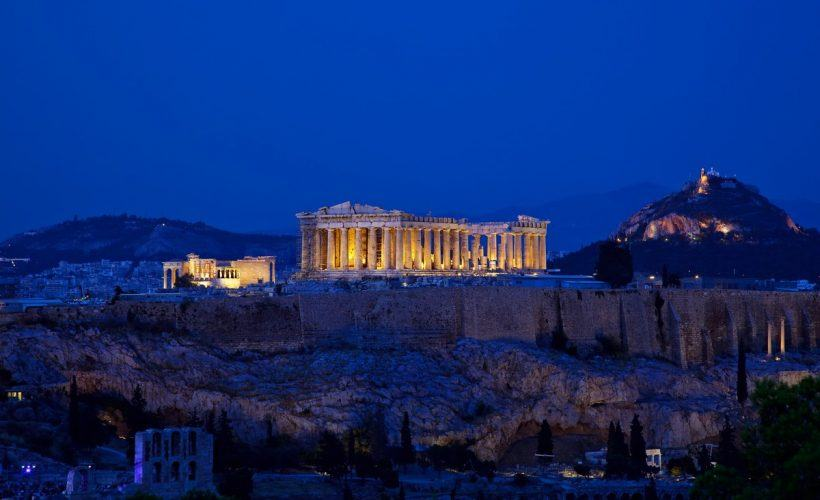Night view of Acropolis,