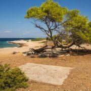 Sea shore and sandy beach of the island  Moni, Saronida, Greece